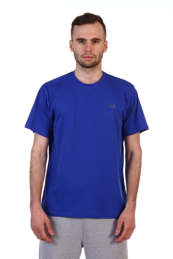 Майка синяя мужская с круглым вырезом.