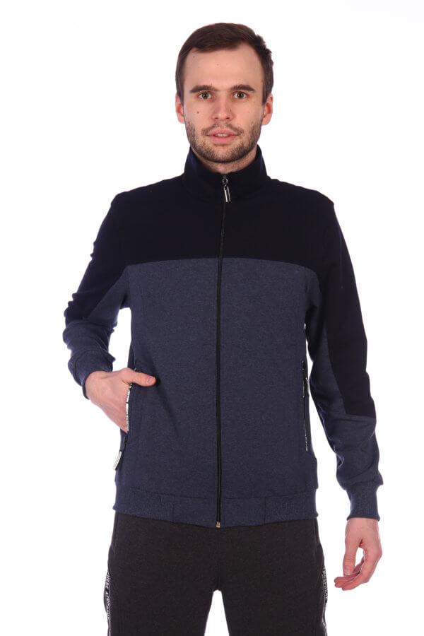 Толстовка ( основной цвет серо синий , с П-образной вставкой черного цвета , внутренний карман на молнии