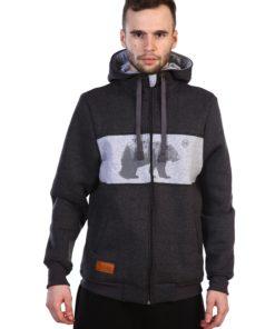 Толстовка на молнии серого цвета с рисунком медведь